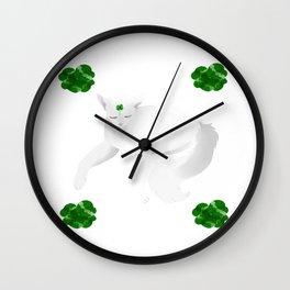 clover cat Wall Clock