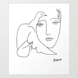 Pablo Picasso Peace (Dove and Face) T Shirt, Sketch Artwork Art Print