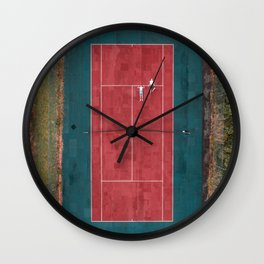 Tennis court, view of drone Wall Clock