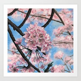 Cherry Blossoms - Polymer clay sculpture/painting Art Print