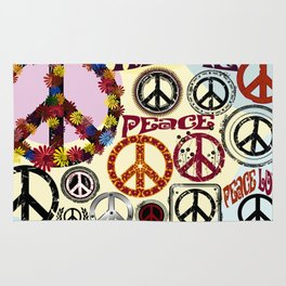 Flower Power Peace Signs Coctail Rug