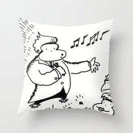 Ape Crooner Gets the Audience Stirred up Throw Pillow
