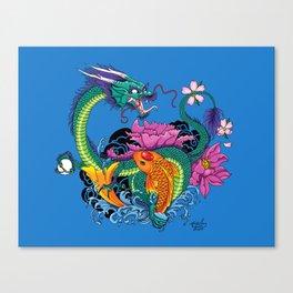 Water Dragon & Koi Canvas Print