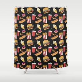Fast-food (black) Shower Curtain