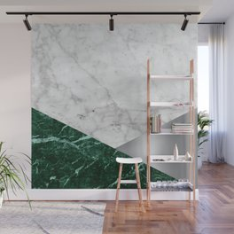 Geometric White Marble - Green Granite & Silver #999 Wall Mural