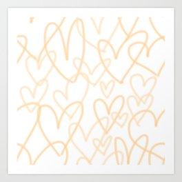 Peach Hearts Art Print