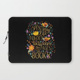 Folded Between the Pages of Books - Floral Black Laptop Sleeve