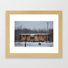 CNW Caboose in Winter Framed Art Print