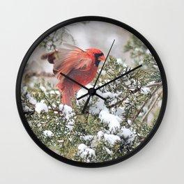 Red Cardinal Rising Wall Clock