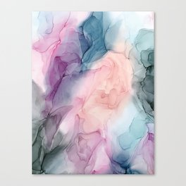 Dark and Pastel Ethereal- Original Fluid Art Painting Canvas Print