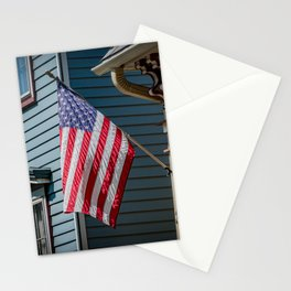 Old Glory American Flag Flown from Front Porch Naperville Illinois Stationery Cards