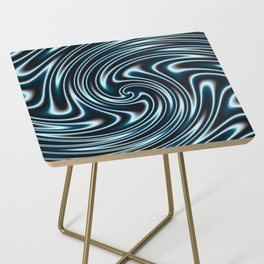 Blue and Black Licorice Ribbon Candy Fractal Side Table