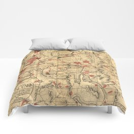 Vintage Map of Yellowstone National Park (1881) Comforters