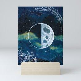 Quarter Moon Original Mixed Media Painting Mini Art Print