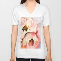 peonies V-neck T-shirts featuring Peonies by Lucy Ortiz