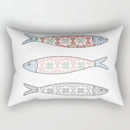 Traditional Portuguese icon. Colored sardines with typical Portuguese tiles patterns. Vector illustr Rectangular Pillow