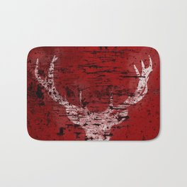 Industrial White Deer Silhouette on Red A313 Bath Mat