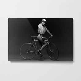 Bike Chick Metal Print