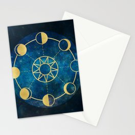 Gold Moon Phases Sun Stars Night Sky Navy Blue Stationery Cards