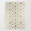 Modern geometric gold stars pattern on white by girlytrend