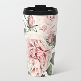 Pink Garden Roses Watercolor Travel Mug