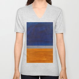 Minimalist Mid Century Rothko Color Field Navy Blue Yellow Ochre Grey Accent Square Colorblock Unisex V-Neck