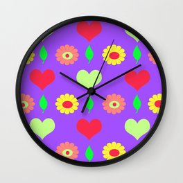 Purple daisy and heart all over print Wall Clock