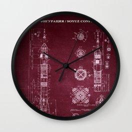 Soyuz Blueprint in High Resolution (red) Wall Clock