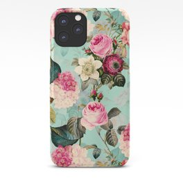 Vintage & Shabby Chic - Summer Teal Roses Flower Garden iPhone Case