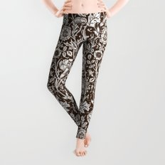 """William Morris Floral Pattern   """"Pink and Rose"""" in Chocolate Brown and White Leggings"""