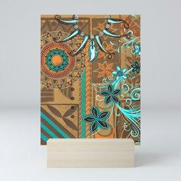 Hawaiian - Samoan - Polynesian gold and Teal Boar Tusk Print Mini Art Print