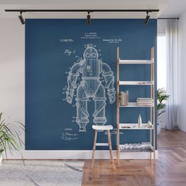 Submarine Armor Patent Blueprint 1915 Wall Mural