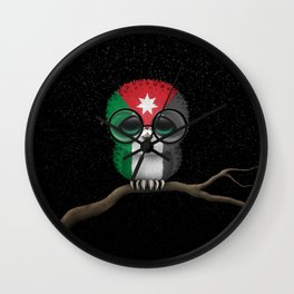 Baby Owl with Glasses and Jordanian Flag Wall Clock