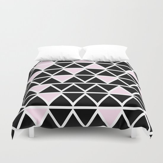 Abstract geometric pattern- pink-black Duvet Cover