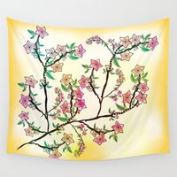 cherry blossoms Wall Tapestries featuring Cherry Blossoms by famenxt