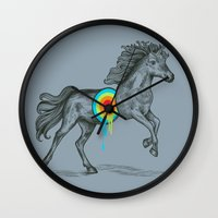 cherry Wall Clocks featuring Unicore II by Rachel Caldwell