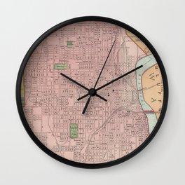 Vintage Map of Omaha Nebraska (1903) Wall Clock