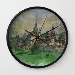 Peles Castle Romania Watercolor Wall Clock