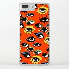 60s Eye Pattern Clear iPhone Case