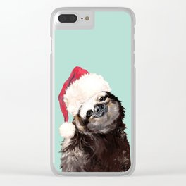 Christmas Sloth in Green Clear iPhone Case