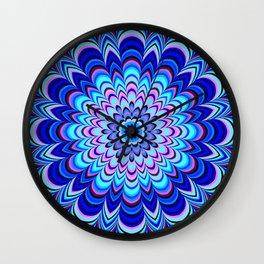 Neon blue striped mandala Wall Clock