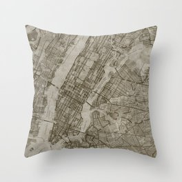 Warm Putty Beige Decor, Manhattan New York City, Antique Vintage Map Throw Pillow