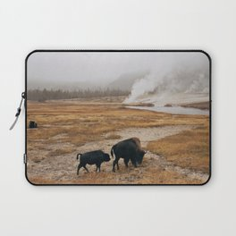 Mother Bison and Calf in Yellowstone National Park Laptop Sleeve