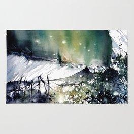 Running water down below in the dark, frozen forest Rug