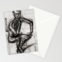 Instinctive - Charcoal on Newspaper Figure Drawing Stationery Cards