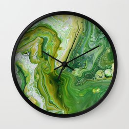 Take Five Fluid Acrylic Pour Painting Green Yellow Wall Clock