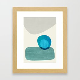 Stacking Pebbles Blue Framed Art Print