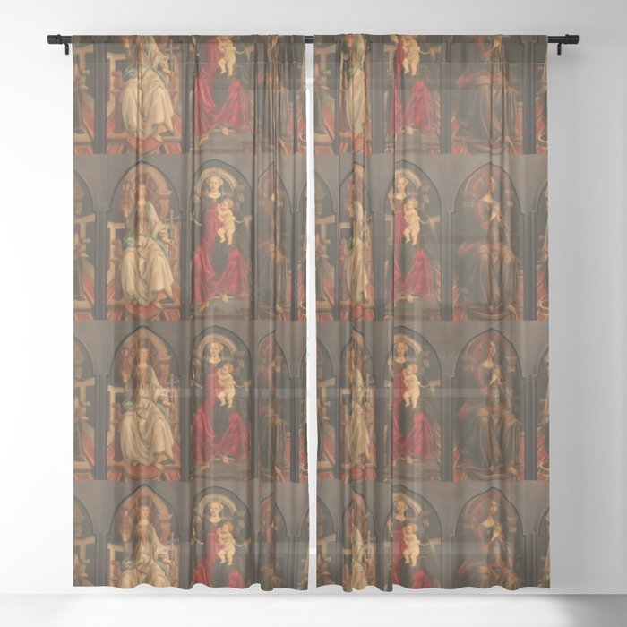 """Sandro Botticelli and Piero del Pollaiolo """"Theological and cardinal virtues"""" Sheer Curtain"""