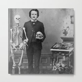 Edgar Allan Poe with Skull and Skeleton macabre black and white photograph Metal Print