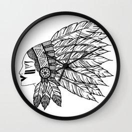 Native Warrior Wall Clock